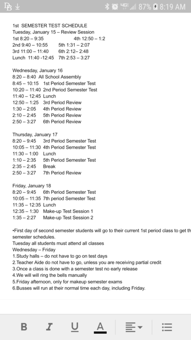 1st Semester Test Schedule
